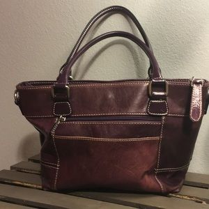 Giani Bernini Purple Leather Trapezoid Bag